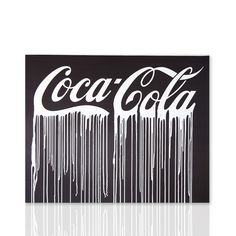Quadro Coca Cola BLACK & WHITE Sfondo nero scritta bianca Arte moderna Shop online Declea.com