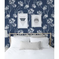 Navy Wallpaper, Blue Wallpapers, Wallpaper Roll, Peel And Stick Wallpaper, Pattern Wallpaper, Wallpaper Ideas, Blue And White Wallpaper, Bedroom With Wallpaper Accent Wall, Blue Feature Wall Bedroom