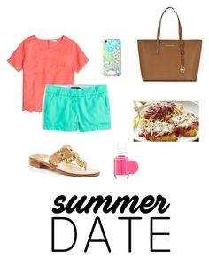 """summer date"" by fl-preppy-living ❤ liked on Polyvore featuring J.Crew, Jack Rogers, Lilly Pulitzer, Essie and Michael Kors"