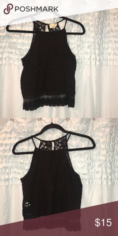 Black lace crop top Black lace crop top. Perfect with high waisted jeans, shorts or maxi skirt La Hearts Tops Crop Tops