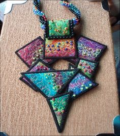 Needle felted jewelry - Dina Buckey - quilting and bead embellished (cool potential polymer piece) Fiber Art Jewelry, Textile Jewelry, Fabric Jewelry, Jewelry Art, Felted Jewelry, Fabric Beads, Fabric Art, Fabric Crafts, Felt Necklace