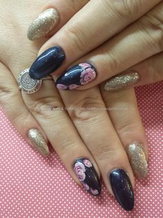 Blue and gold gel polish with one stroke rose nail art