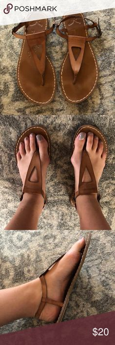American Eagle brown leather sandals size 10 American Eagle brown leather sandals size 10. Good condition. Worn two times. American Eagle Outfitters Shoes Sandals