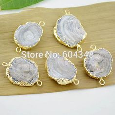 Wholesale 3pcs Druzy Connector, Gold plated edge Druzy Geode agate Connectors in Natural color, Fine Drusy Gem Stone, Druzy Pendant, Free shipping, $6.35/Piece | DHgate Mobile