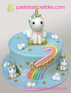 Pastel de 3 Unicornios Unicorn Birthday, Birthday Cake, Torta Baby Shower, Little Pony Cake, Unicorn Foods, Dinosaur Cake, Cake Board, Love Cake, Cake Tutorial