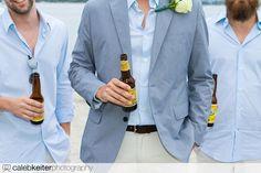 groom and groomsmen - blue + khaki beach wedding