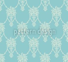 Amphora Mio Turquoise by Viktoryia Yakubouskaya available as a vector file on patterndesigns.com Surface Pattern Design, Repeating Patterns, Vector Pattern, Vector File, Baroque, Delicate, Turquoise, Green Turquoise
