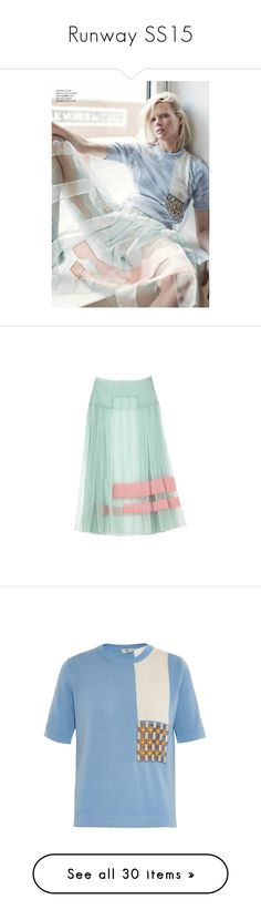 """""""Runway SS15"""" by hydrangea4 ❤ liked on Polyvore featuring skirts, bottoms, fendi, юбки, green skirt, tops, t-shirts, blue multi, beaded top and pastel tops"""