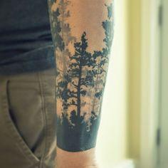 #tattoo #tattrx #classictattoo #ink #menwithtattoo #forarmtattoo #tree #pinetree #forest #remiismeltingdots #mtl #montreal