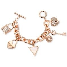 Guess Charm Toggle Bracelet ($35) ❤ liked on Polyvore featuring jewelry, bracelets, pulseras, rose gold, charm jewelry, guess charms, charm bangle, heart jewelry and charm bracelet jewelry
