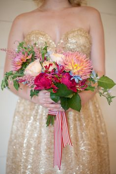 gold gown + bright bouquet