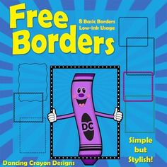 Borders: FREE Borders Eight basic borders. This is a sample pack containing 8 borders from our mega-bundle set of 450 borders. These borders are. Toddler Art Projects, School Art Projects, School Ideas, Page Borders Free, Border Templates, Cool Doodles, Frame Clipart, Summer Activities For Kids, Writing Workshop