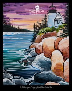 Acadia Sunset Painting - Jackie Schon, The Paint Bar Summer Painting, Light Painting, Painting & Drawing, Acrylic Canvas, Canvas Art, Anime Chibi, Paint Bar, Lighthouse Painting, Art Optical