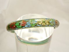 Plique a Jour Enamel Bracelet Clear Enamel Blue Stained Glass Floral Bangle Chinese Vintage Cloisonne by Oldtreasuretrunk on Etsy