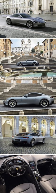 The Ferrari Roma sports some serious curves, and sports the same chassis and award-winning turbocharged engine found in the Portofino. The mid-front eng Tyre Tread, New Ferrari, Design Language, Classic Italian, Automotive Design, Fast Cars, Cars And Motorcycles, Super Cars, Classic Cars