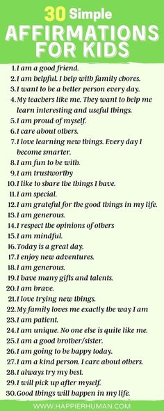 simple affirmations for kids | list of positive affirmations for students | words of affirmation for kids | infographic  Positive Affirmations will help your child to overcome challenges, manage stress, learn to love learning, and make better choices.Your kids can use this positive affirmation list by reading the words aloud or by discussing how these attitudes can help them in their lives.   SEE: 30 Simple Affirmations for Kids: Mantras to Reinforce Positive Thinking for your Children Positive Affirmations For Kids, Positive Mantras, Daily Affirmations, Mindful Parenting, Gentle Parenting, Parenting Advice, Words Of Affirmation, Confidence Quotes, Learn To Love