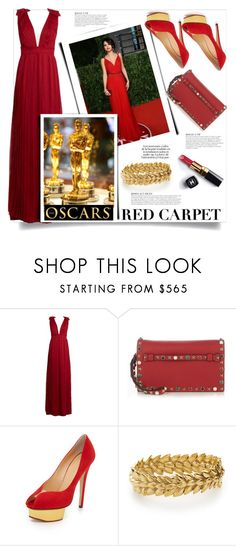 """Selena Gomez - Red Carpet at the Oscars"" by stylediva20 on Polyvore featuring Raquel Diniz, Valentino, KAROLINA, Charlotte Olympia, Aurélie Bidermann and Chanel"