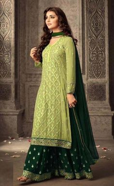 Blue and Firoji Georgette Sharara Suit Shop Blue and Firoji Georgette Sharara Suit Online @ YOYO Fashion. Explore the Latest Ramdan EID Dresses. Amazing EID Dresses, Suits, Sarees and Lehengas at Best Prices. Indian Attire, Indian Outfits, Indian Gowns, Trajes Anarkali, Stylish Dresses, Fashion Dresses, Sharara Designs, Indian Party Wear, Pakistani Fashion Party Wear