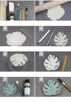 Bandejas de Hojas en Porcelana Fria Preschool Crafts, Diy Crafts For Kids, Arts And Crafts, Cute Polymer Clay, Handmade Polymer Clay, Paper Flowers For Kids, Diy Clay Earrings, Diy Artwork, Flower Tutorial