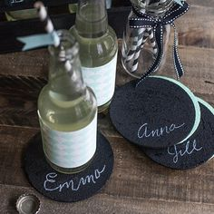 These coasters are perfect for your next party where you can personalize with your guests name. These are easy to make with cork coasters and chalkboard paint.