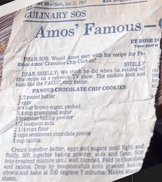 Famous Amos Chocolate chip cookie recipe from LA Times Amos Cookies, Brownie Cookies, Cookie Desserts, Cake Cookies, Cookie Recipes, Protein Cookies, Cupcakes, Famous Amos Chocolate Chip Cookies Recipe, Famous Amos Cookie Recipe