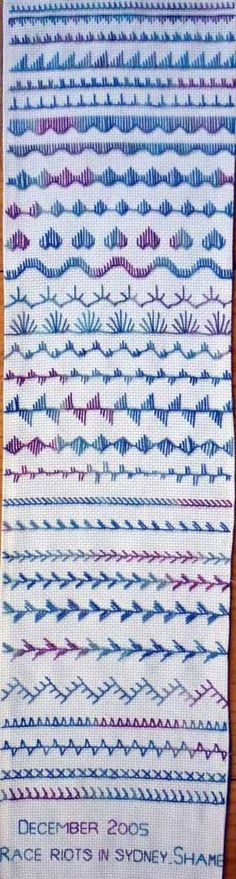 Embroidery Stitch Sampler. Love the idea of the same thread (hand dyed by maker) throughout. #embroiderystitches