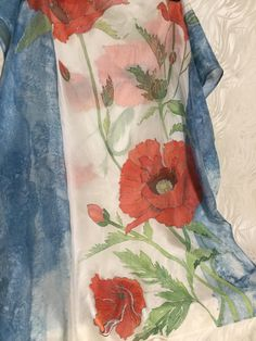 Silk chiffon shawl 45 x 160 cm/ 21 x 64 in. Silk Painting, Poppies, Scarves, Hand Painted, Etsy, Beautiful, Art, Silk, Scarfs