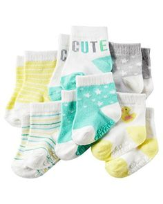 Carters Baby-Boys Newborn Heather Terry Ribbed Socks (Pack of 6) (0-3 Months, Cute/Duck)
