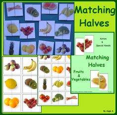 Matching Halves- Fruits & Vegetables #fruits For more resources follow https://www.pinterest.com/angelajuvic/autism-special-education-resources-angie-s-tpt-sto/