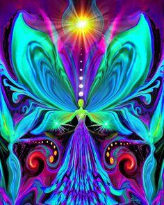 Rainbow Psychedelic Angel, Chakra Art Print