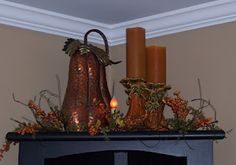 Top of Corner hutch for fall with battery operated candles