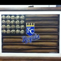 Customized Hand-painted KC Royals Baseball Painting. Painted on wood and mounted in a window frame. Contact redheadreinventions@gmail.com for order info.