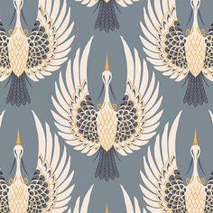 Blue Art Deco Crane Wallpaper | Hovia