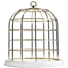 Seletti Twitable Gold Birdcage Gold/white By (590 BRL) ❤ liked on Polyvore featuring home, home decor, decor, seletti, white birdcage, white home decor, gold home decor and gold home accessories