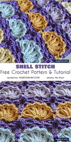 Crochet Shell Stitch Free Crochet Pattern and Tutorial The Effective Pictures We Offer You About crochet stitches A quality picture can tell you many things. Picot Crochet, Tunisian Crochet Stitches, Manta Crochet, Diy Crochet, Crochet Crafts, Tutorial Crochet, Crochet Tutorials, Crochet Flower Patterns, Crochet Stitches Patterns