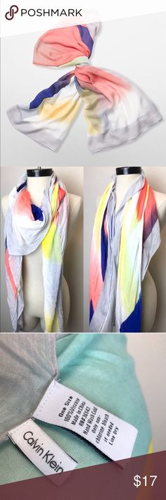 """CALVIN KLEIN SCARF Lightweight flash square scarf featured from Calvin Klein!  ~ has logo imprinted on the corner ~ light weight to keep you warm but not to hot! ~ colorful enough to match every outfit in your closet! ~ hand wash, 54"""" x 54"""" Calvin Klein Accessories Scarves & Wraps"""