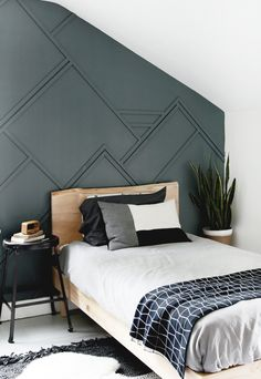 Home decorating DIY Wood Trim Accent Wall The Merrythought The Right Furniture Arti Accent Wall Bedroom, Bedroom Decor, Bedroom Feature Walls, Wood Accent Walls, Striped Accent Walls, Accent Wall Decor, Shabby Bedroom, Lego Bedroom, Childs Bedroom