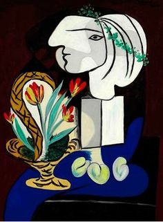"Pablo Picasso, 1932, ""Stilllife with tulips"" (Nature morte aux tulipes)."