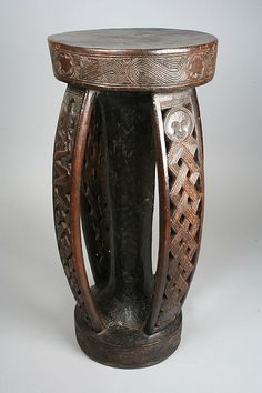 Africa | Prestige Stool from the Kuba people of the Sankuru River region of DR Congo | Wood | 1915 or later