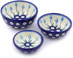 Polish Pottery Small Set of 3 Nesting Bowls (Floral Peacock Theme) + Certificate of Authenticity ... (This is an affiliate link) #mixingbowls Peacock Theme, Nesting Bowls, Mixing Bowls, Polish Pottery, Authenticity, Certificate, Tableware, Link, Floral