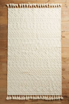 Tassel-Trim Hand-Knotted Wool Rug