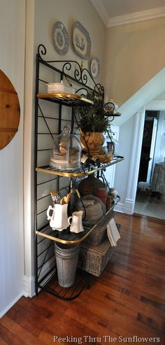 Black And White On Metal Baker S Rack Countryfrenchkitchens