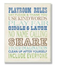 Take a look at this Blue Playroom Rules Typography Wall Plaque by Stupell Industries on #zulily today!