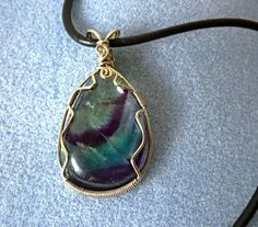 Natural stone pendant - Fluorite, wire wrapped jewelry handmade, wire wrap pendant, gypsy, stone wire wrap