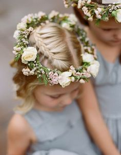 A pretty floral wreath idea for little ladies of honor Wedding Hairstyles # Flower Girl Hairstyles Floral hairstyles honor Idea Ladies Pretty Wedding Wreath Flower Tiara, Flower Girl Crown, Floral Crown, Flower Girl Dresses, Flower Girls, Blue Dresses, Flower Crown Hairstyle, Flower Girl Hairstyles, Crown Hairstyles