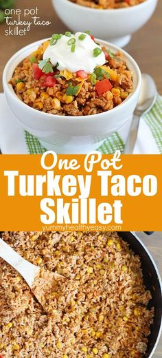 Turkey Taco Skillet – easy and healthy 30 minute meal cooked all in one pot with only FIVE ingredients!! Less time to prepare and less dishes to do! Most of the cooking time is just the pot sitting there with the lid closed so you can run around doing something else important. This is a must-make! #taco #groundturkey #easydinner #onepot #30minutemeal #fiveingredients #recipe #easy #onepan