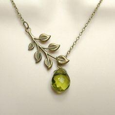 Belize - brass leaf branch and olive green glass crystal briolette teardrop pendant NECKLACE