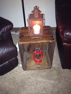 Vintage crate with reproduction railroad lamp and vintage candle holder - my favorite purchases