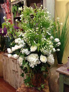 White Aggies, White Hydrangea, White Tulips, White Roses, White Lisianthus