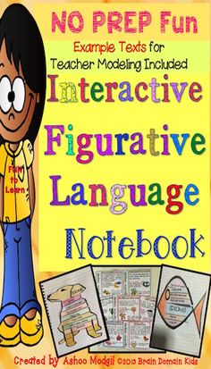 Figurative Language: Use these interactive notebook Figurative Language fun organizers to practice seven types of figurative language devices. Figurative Language is the focus of these 84 pages of fun and visually appealing interactive notebook graphic organizers These 84 ready-to-use figurative language pages are perfect for learning to identify and write seven common types of figurative language: simile, metaphor, idioms, hyperbole, personification, onomatopoeia, and alliteration.